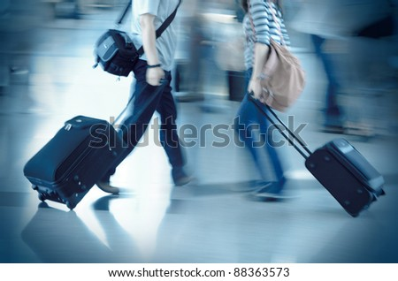 walking city passenger blur motion - stock photo