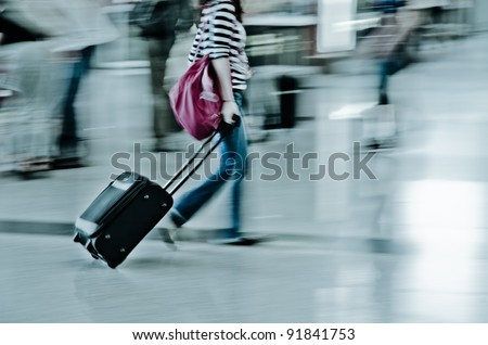 walking city passenger blur motion - stock photo