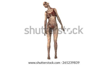 Walking dead zombie woman seperated on white background