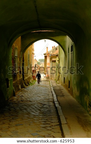 Walking down the road - stock photo