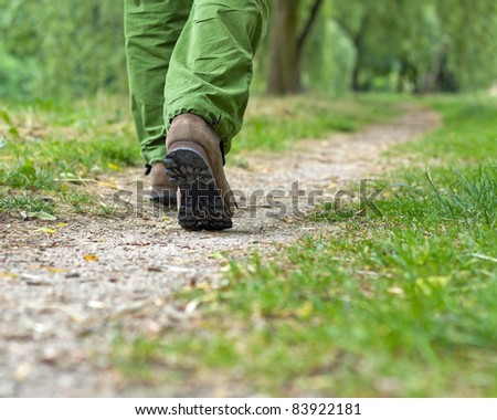 Walking in park, man exercising outdoors in forest