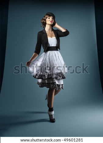 walking in studio - stock photo