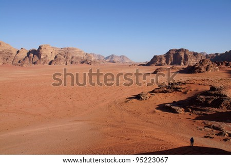 walking in Wadi Rum desert, Jordan