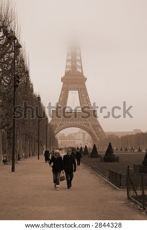 Walking in winter Paris, Eiffel Tower - stock photo