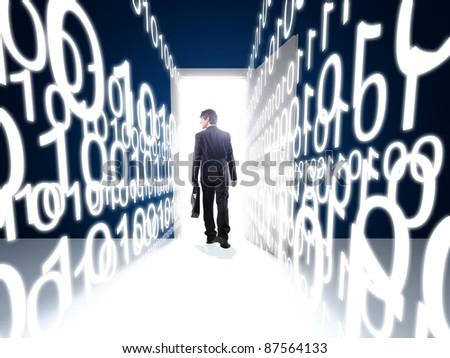 walking man and 3d white binary code - stock photo