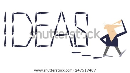Walking man thinks and leaves the word �Ideas� by footprints behind himself - stock photo
