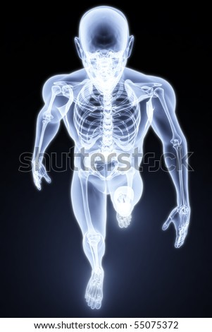 walking man under X-rays. 3d render. - stock photo
