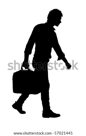 walking man with a bag on a white background.silhouette - stock photo
