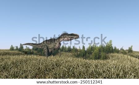 walking monolophosaurus - stock photo