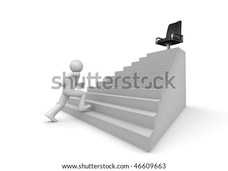 Walking on career ladder (3d isolated characters on white background series) - stock photo