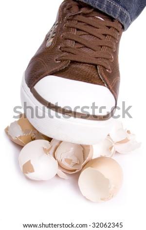 Walking on eggshells - stock photo
