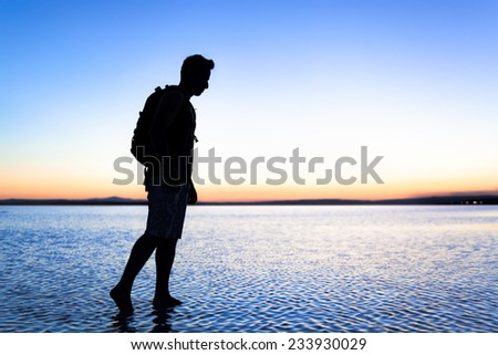 Walking on Lake Tuz of Turkey - stock photo