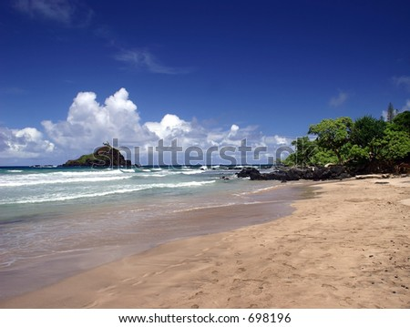 Walking on the Beach in Hana, Maui Island, Hawaii - stock photo