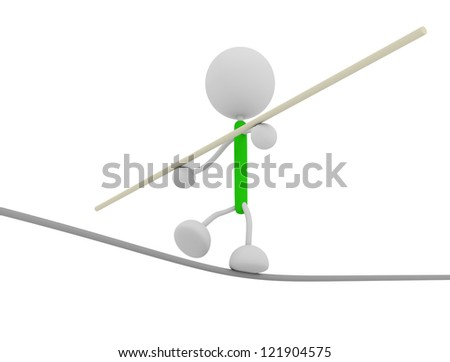 walking on the wire - stock photo