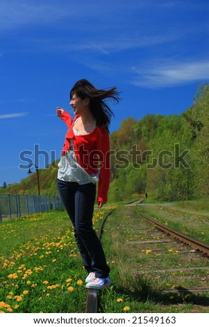 Walking on trail - stock photo