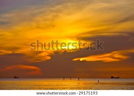 Walking on water (Sunrise, Atlantic ocean coast, Miami, FL) - stock photo