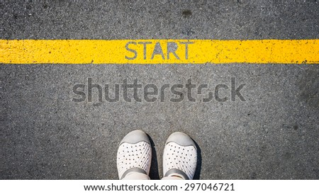 walking on yellow street lines start text concept of business start