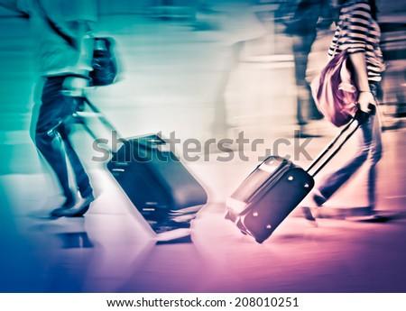 walking passengers - stock photo