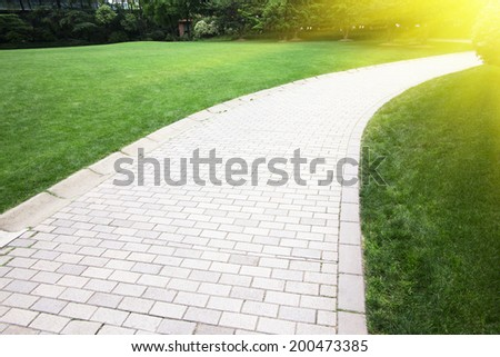 walking path in the park - stock photo