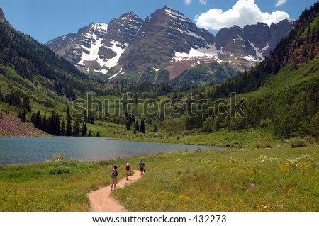 Walking path on the shore of Maroon Lake, Colorado near Aspen - stock photo