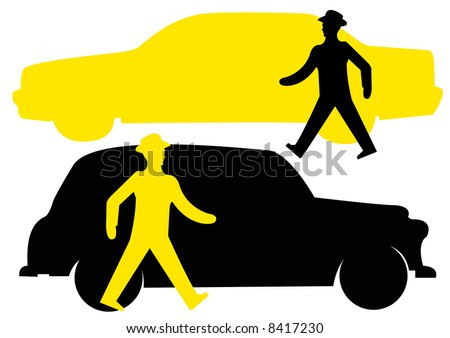 walking pedestrian walkway sign with london black cab and yellow new york taxi - stock photo