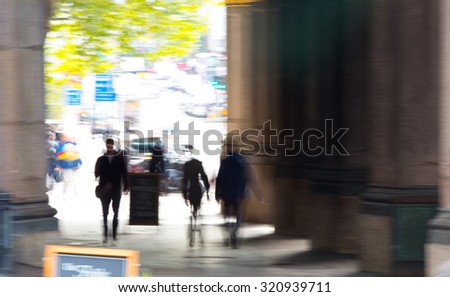 Walking people, blur background. London