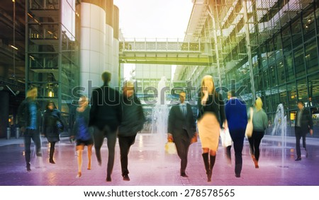 Walking people composition, motion blur, Business and modern life concept - stock photo