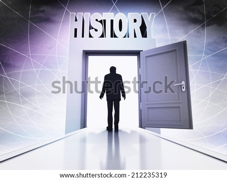 walking person to learn history behind magic doorway background illustration - stock photo