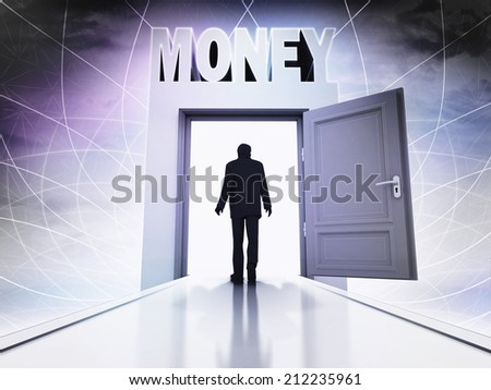 walking person to make money in magic doorway background illustration - stock photo
