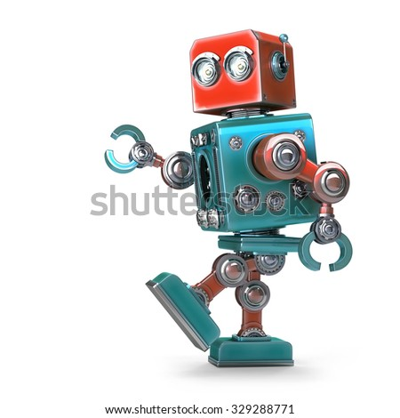 Walking Robot. Isolated over white. Contains clipping path - stock photo