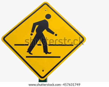 walking sign in the yellow background - stock photo