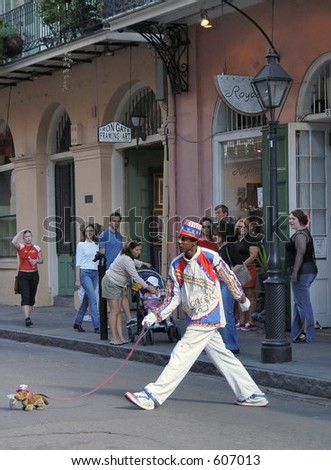 Walking the dog in New Orleans - stock photo