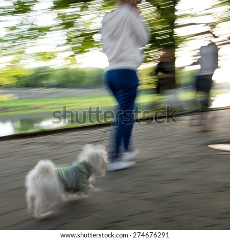 Walking the dog on the street. Intentional motion blur - stock photo