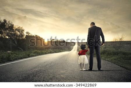 Walking through childhood - stock photo