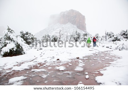 Walking Through Freshly Fallen Snow in the Desert (Sedona, Arizona)