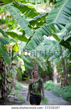 Walking through the jungle - stock photo