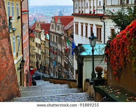Walking through the streets of the old town - stock photo