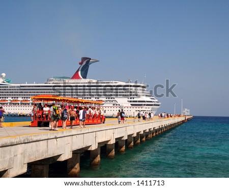 Walking to the Cruise Ship - stock photo