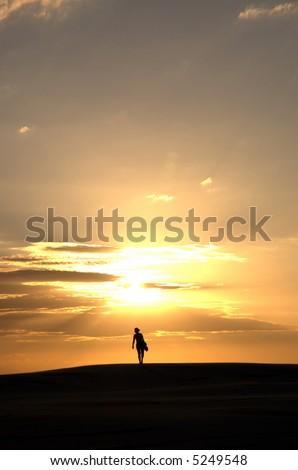 Walking to the sun - stock photo