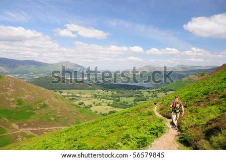 Walking toward Keswick from Causey Pike, English Lake District - stock photo