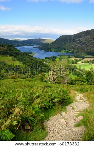 Walking towards Ullswater in summer in the English Lake District