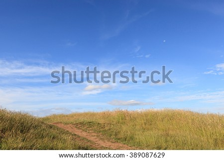 Walking track to the top of Mount Eden, Auckland, New Zealand. - stock photo
