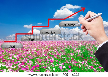 walking up stepping ladder have red rising arrow on field flower against blue sky with hand writing word goal plan action success idea concept for success and growth - stock photo