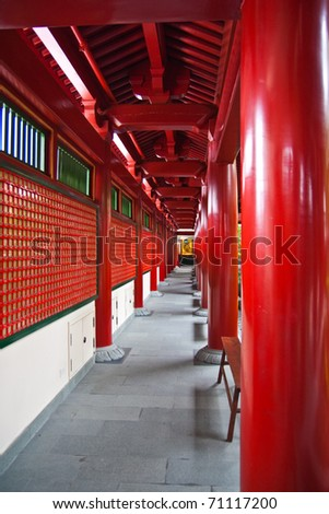 Walking way in the tooth relic temple, landmark in Singapore. - stock photo