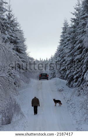Walking with the dog on slippery road. - stock photo