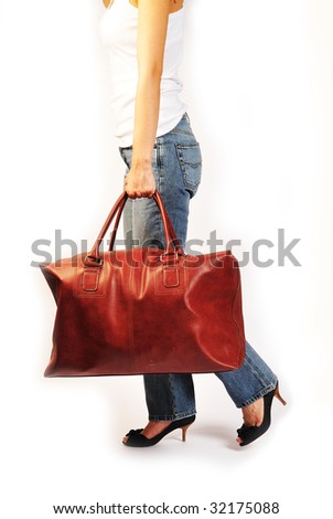 walking with the luggage - stock photo