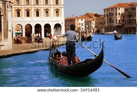 Walks on gondolas - stock photo