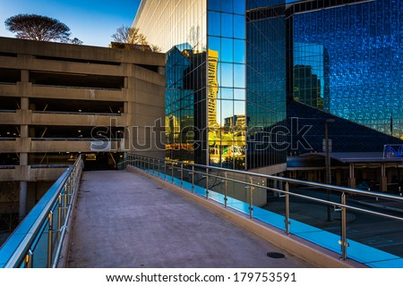 Walkway and the Hyatt Regency Hotel in Baltimore, Maryland. - stock photo