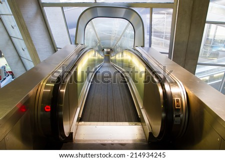 Walkway at station - stock photo