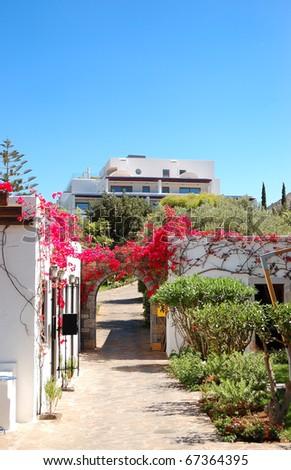 Walkway at the luxury hotel, Crete, Greece - stock photo